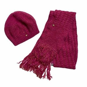 Chanel Pink Wool Mohair Knit Beanie ans Scarf Set
